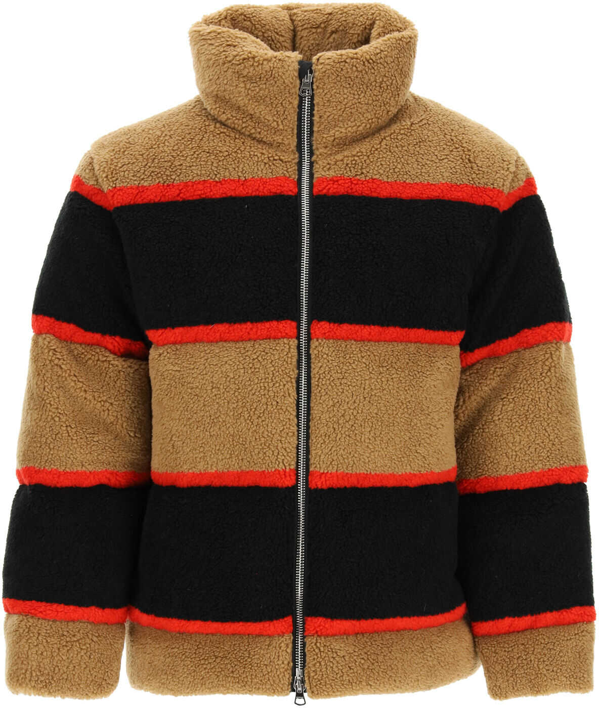 Burberry Color Block Fleece Down Jacket CAMEL imagine