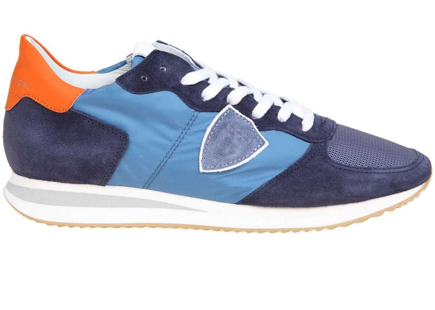 Philippe Model Blue Trpx Sneakers With Orange Heel Tab TZLU W055 Blue imagine b-mall.ro