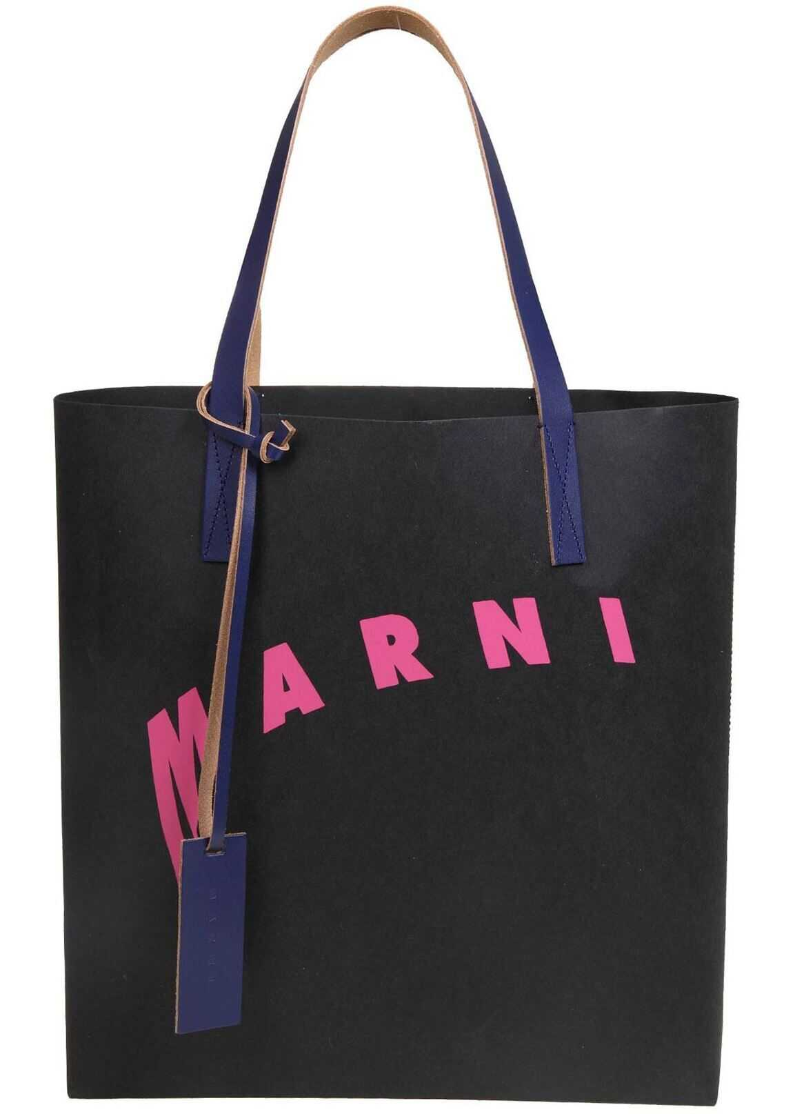 Marni Logo Shopping Bag In Black SHMPQ10A07P3951Z2N30 Black imagine b-mall.ro