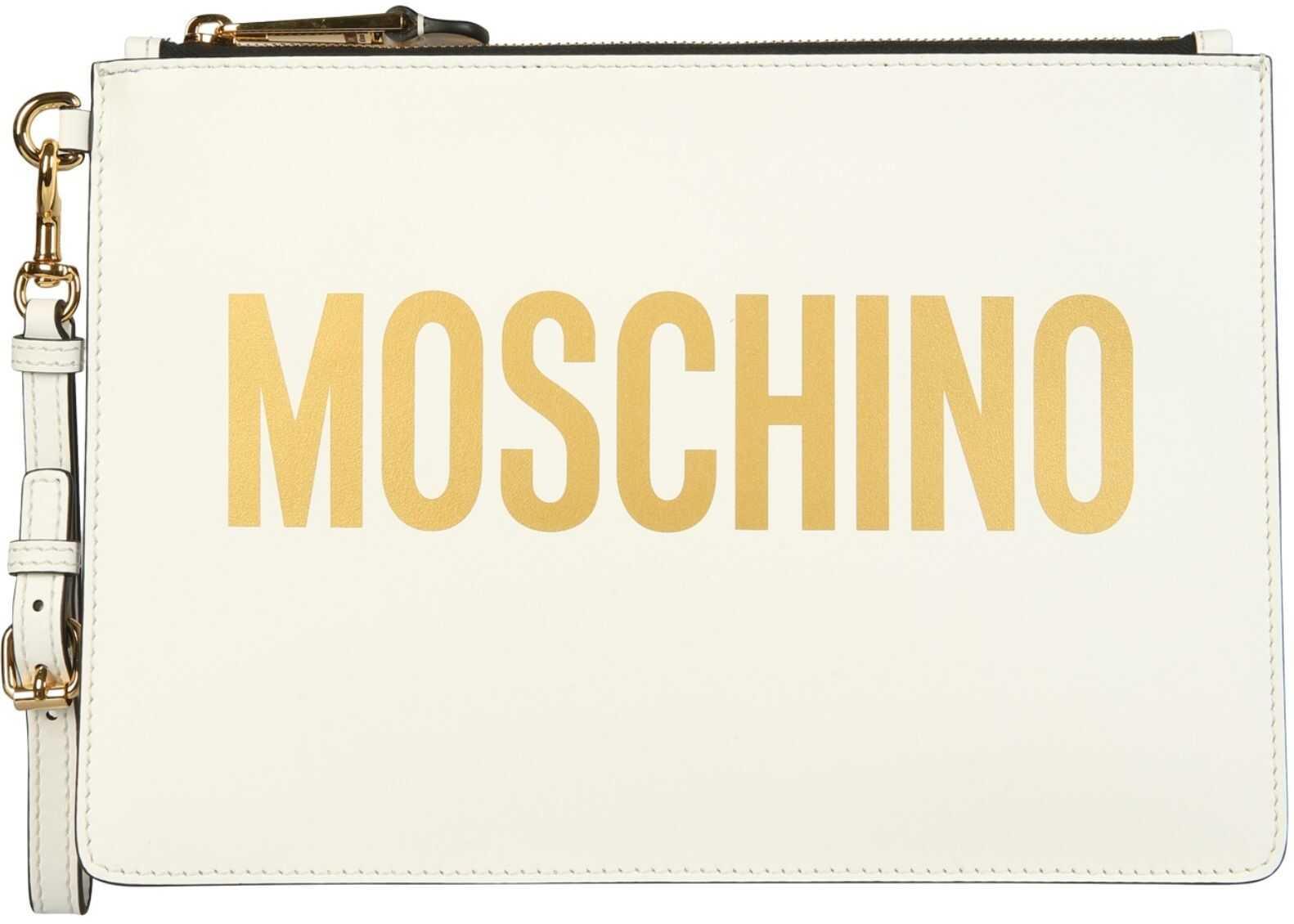 Moschino Pouch With Maxi Logo 84058001_4001 WHITE imagine b-mall.ro