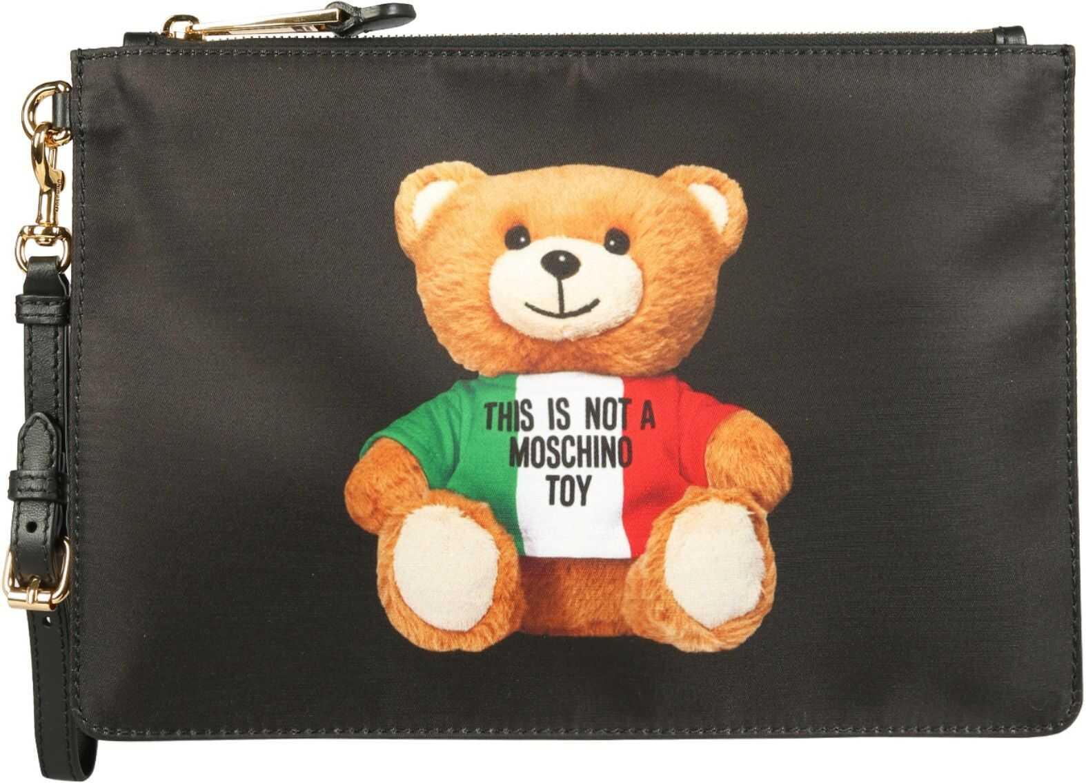 Moschino Italian Teddy Pouch 84448213_1555 BLACK imagine b-mall.ro