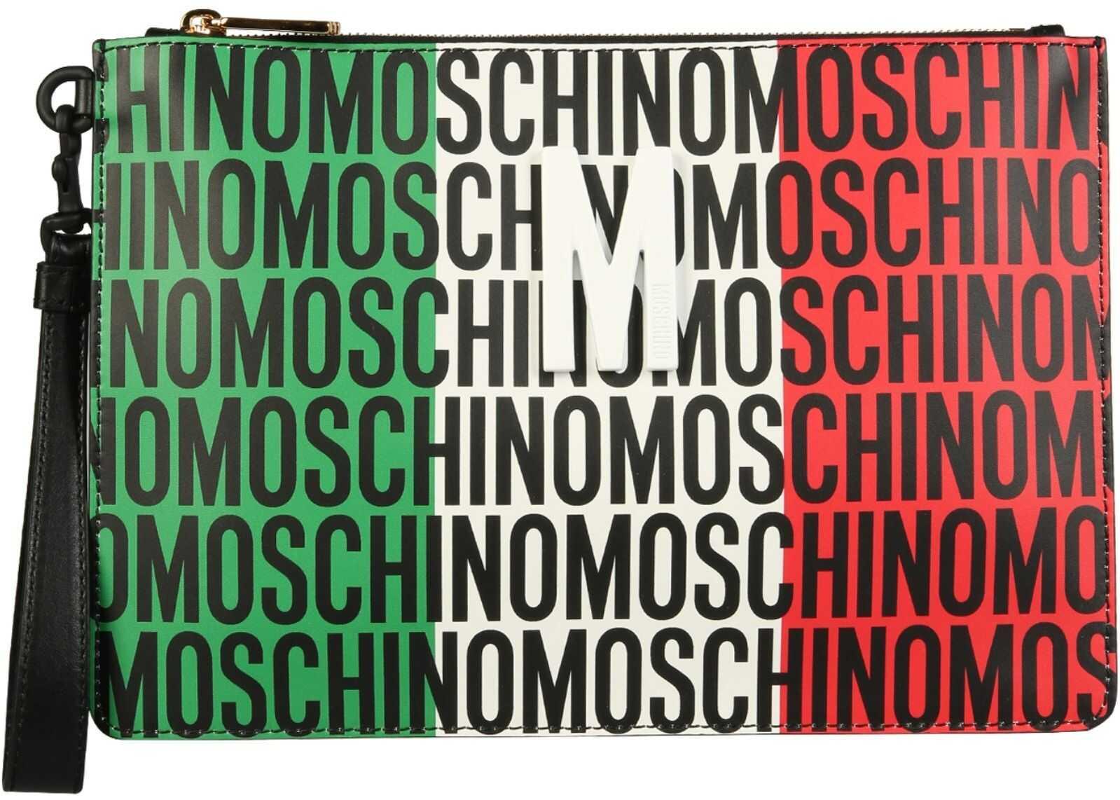 Moschino Clutch With Lost & Found Tricolour Print 84258025_2888 MULTICOLOUR imagine b-mall.ro