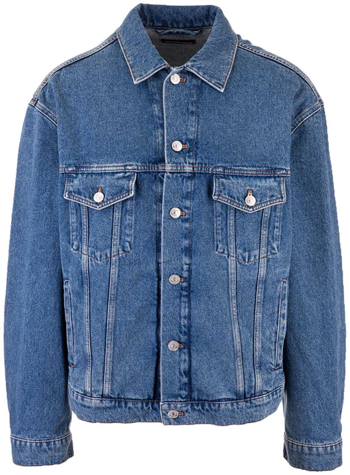 Balenciaga Languages Denim Jacket In Blue Blue imagine