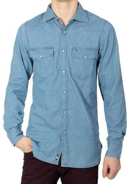 Tommy Hilfiger Pearl Snap-Button Denim Shirt MW0MWII870 Blue imagine