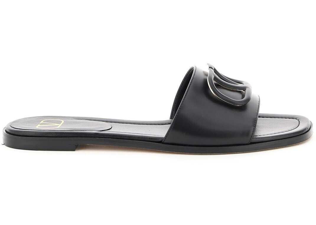 Valentino Garavani Flat Mules Vlogo VW2S0BD5MZF NERO imagine b-mall.ro