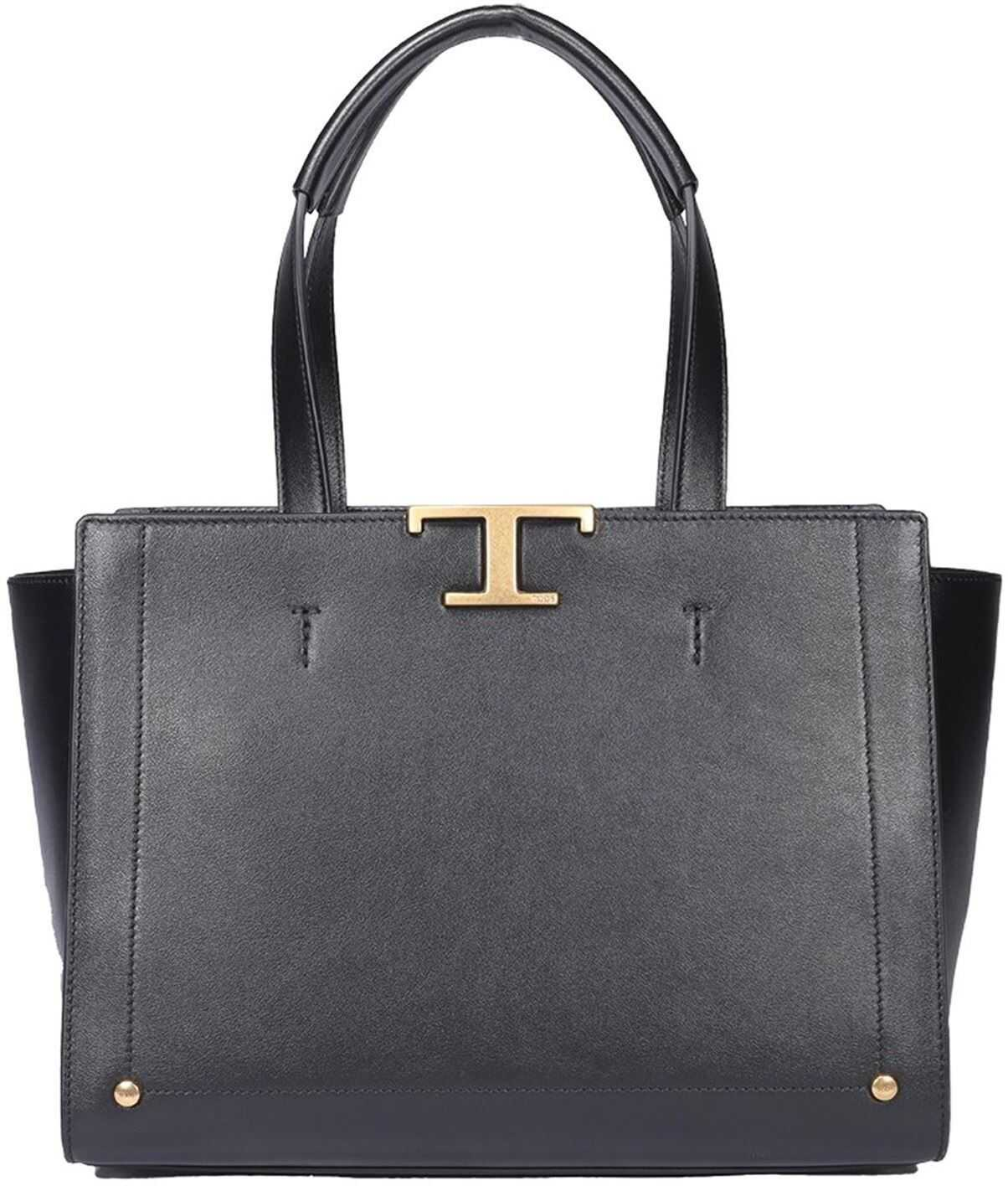 TOD'S Logo Plaque Large Tote Bag In Black XBWTSIFE300RORB999 Black imagine b-mall.ro