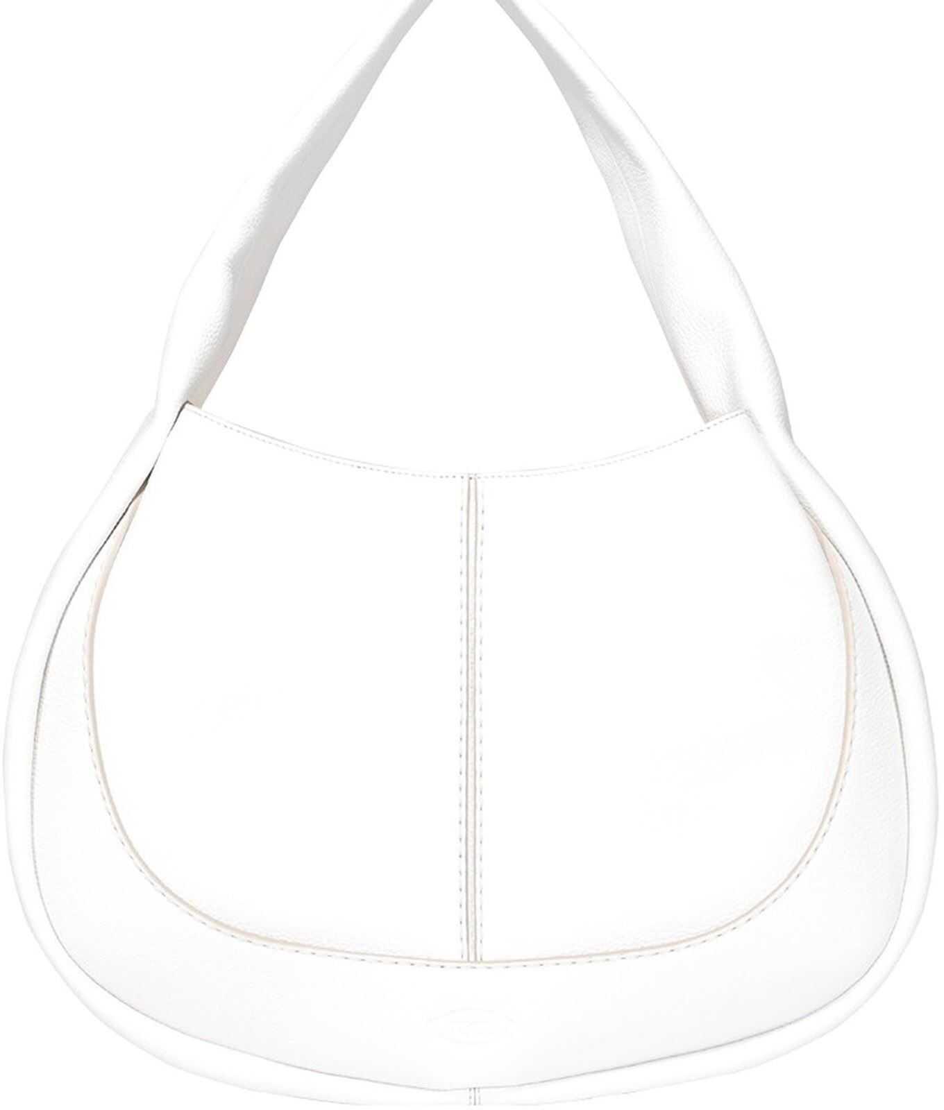 TOD'S Leather Medium Hobo Bag In White XBWAOUS0300UCAB015 White imagine b-mall.ro