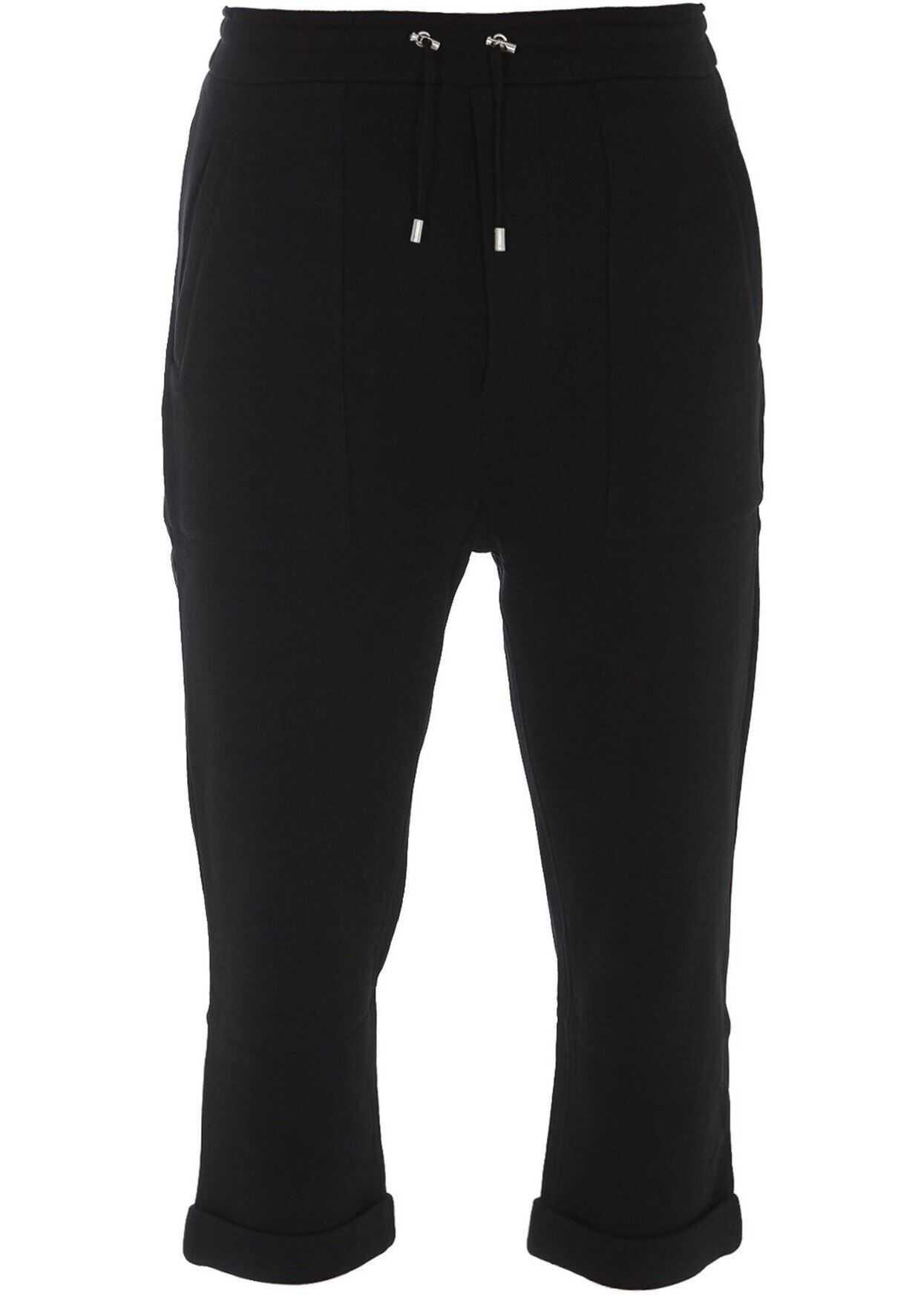 Balmain Cropped Tracksuit Pants In Black Black imagine