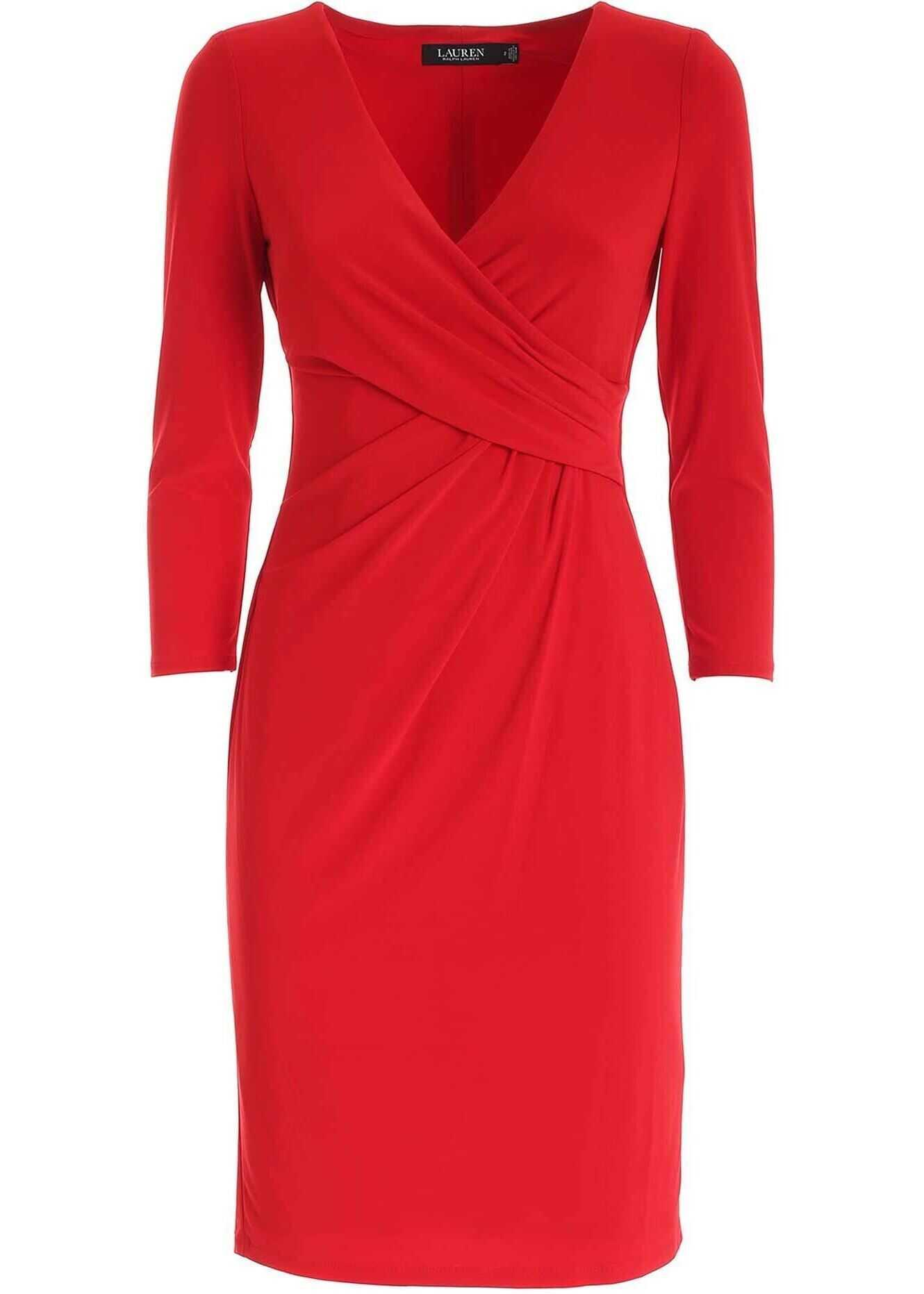 Ralph Lauren Crossover V-Neck Dress In Red* Red