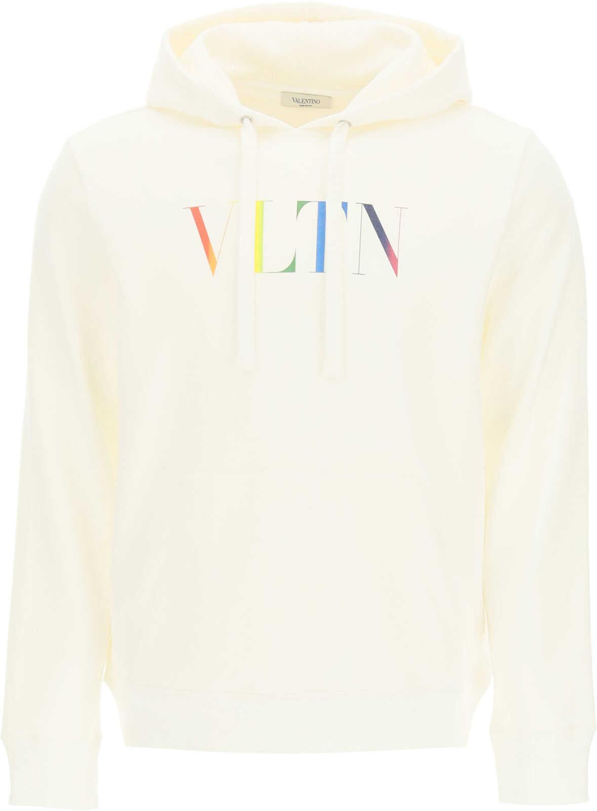 Valentino Garavani Hooded Sweatshirt With Multicolor Vltn Print BIANCO VLTN MULTICOLORS imagine