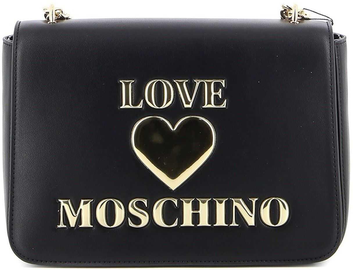LOVE Moschino Vegan Leather Shoulder Bag In Black JC4054PP1CLF0000 Black imagine b-mall.ro