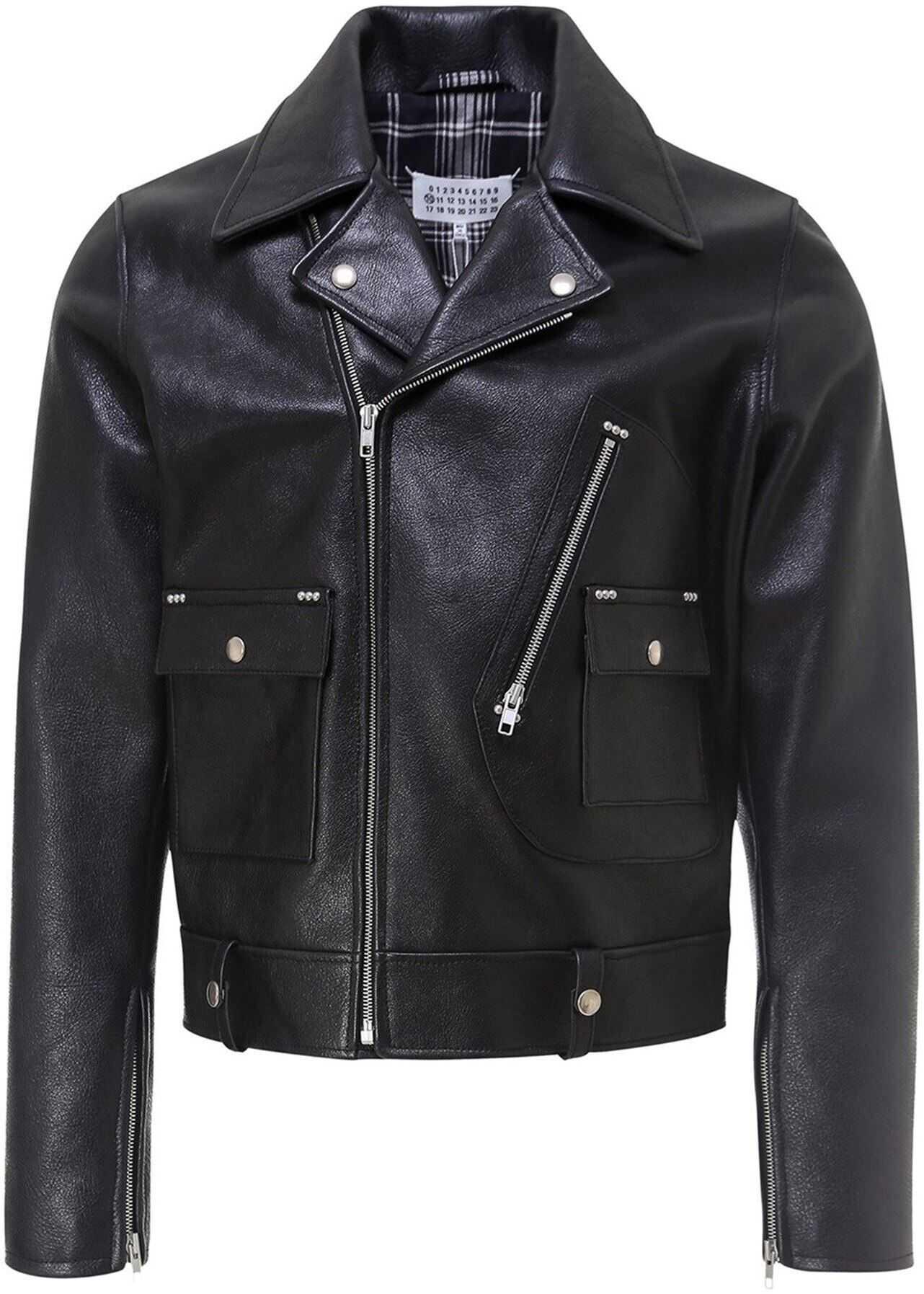 Maison Margiela Leather Bomber Jacket In Black Black imagine