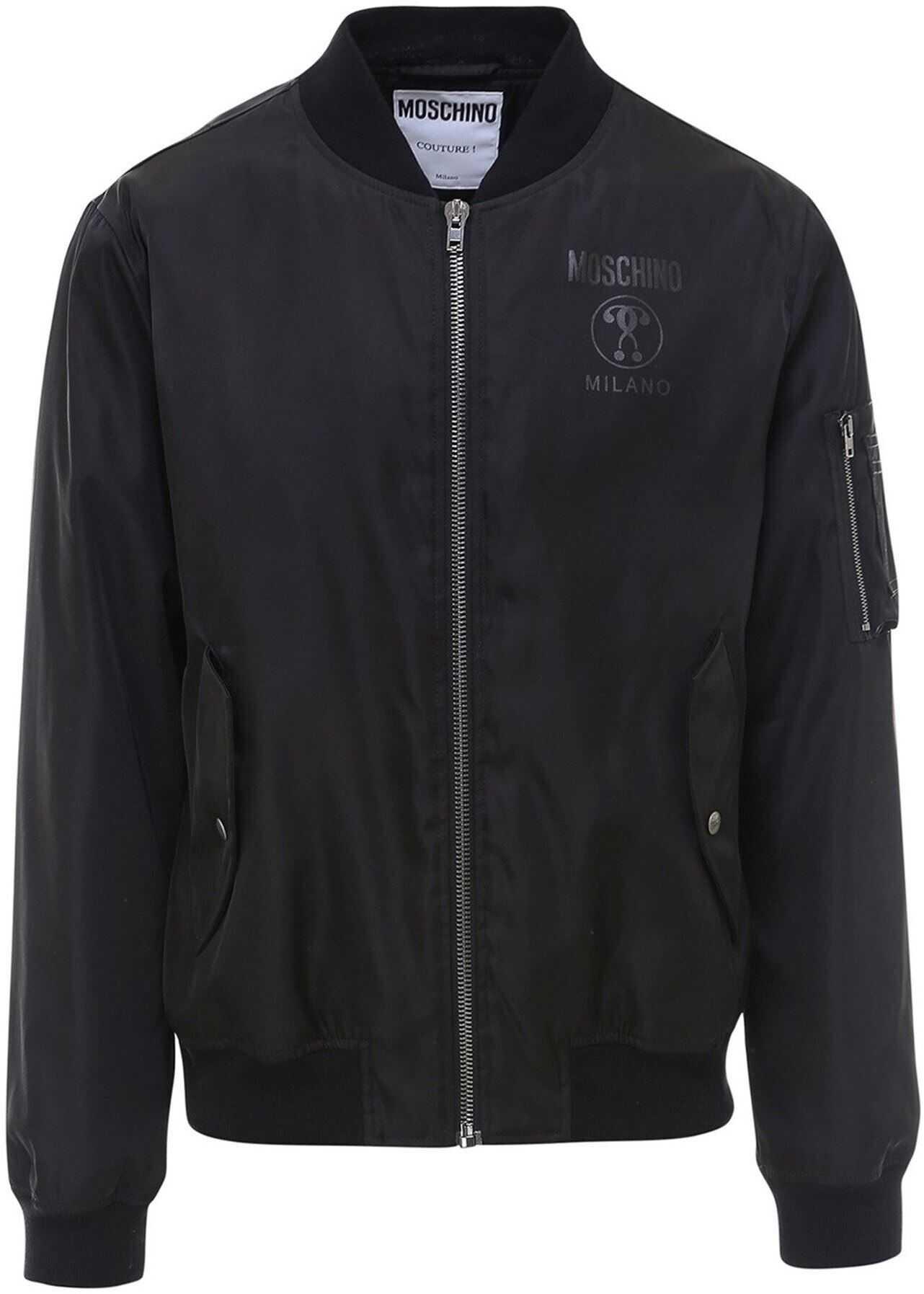 Moschino Nylon Bomber Jacket In Black Black imagine