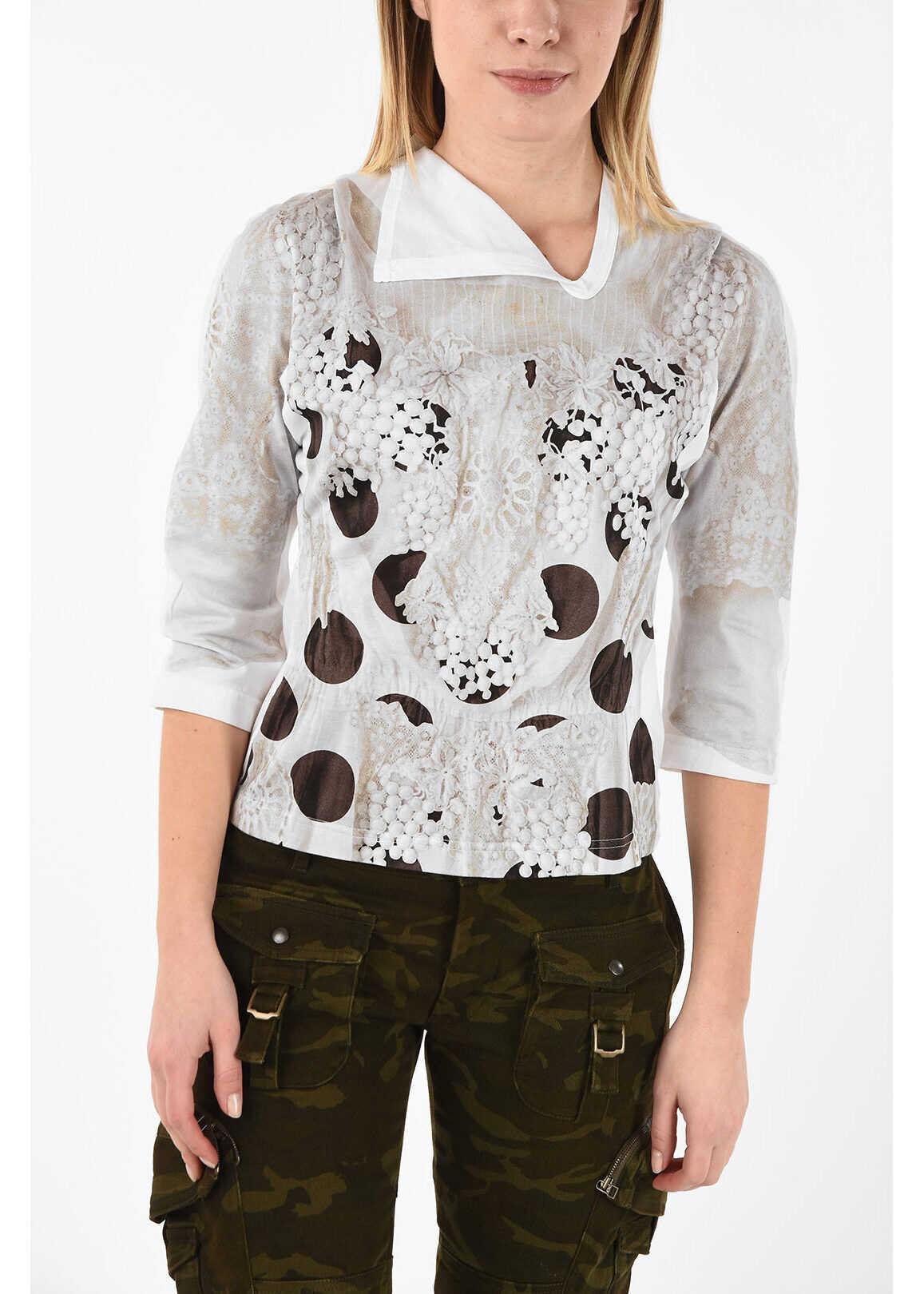 ¾ Sleeve Printed T-shirt Asymmetrical Collar