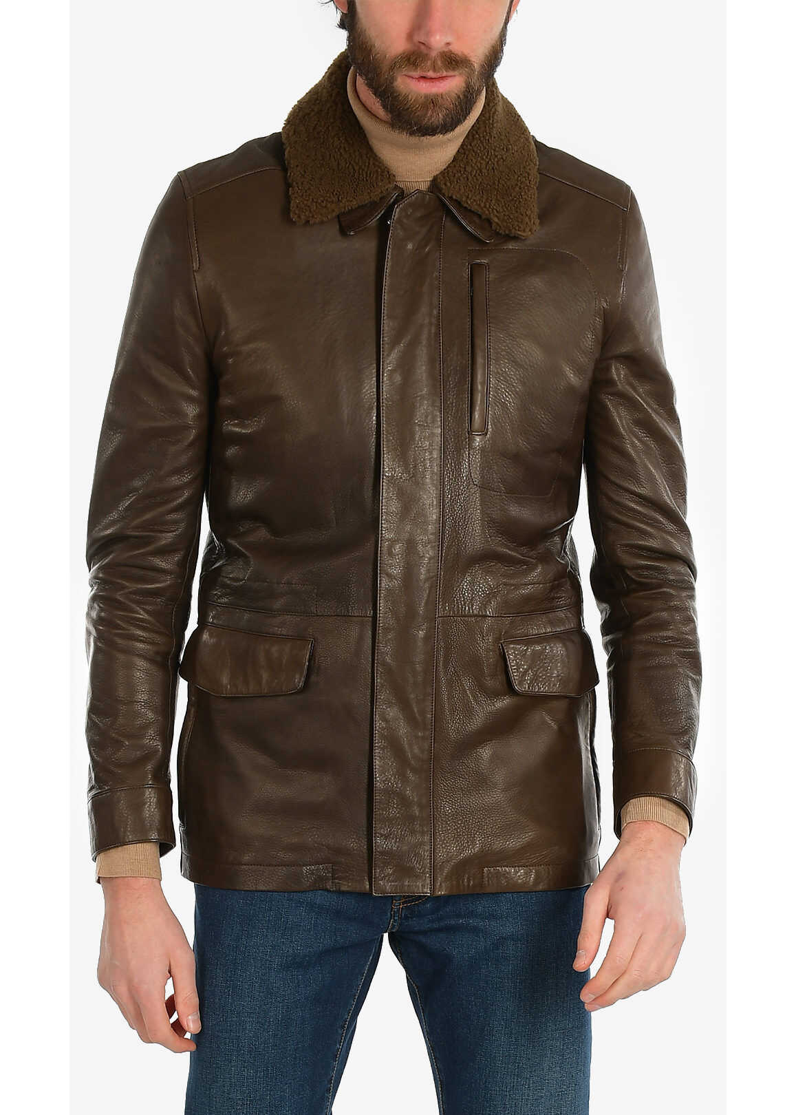 CORNELIANI ID PLJMAN leather flight jacket BROWN imagine