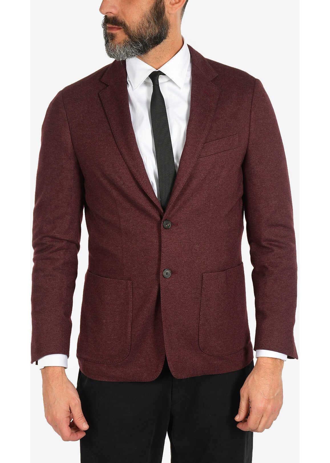 CORNELIANI ID silk and cashmere 2-button blazer BURGUNDY imagine