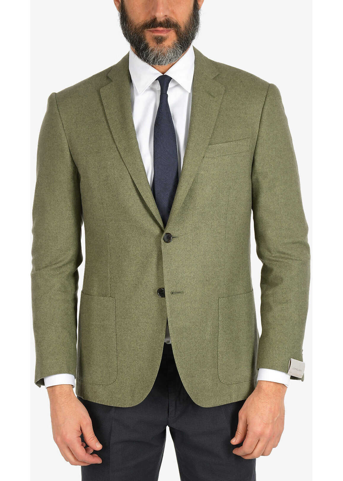 CORNELIANI silk and cashmere ACADEMY SOFT 2-button blazer GREEN imagine