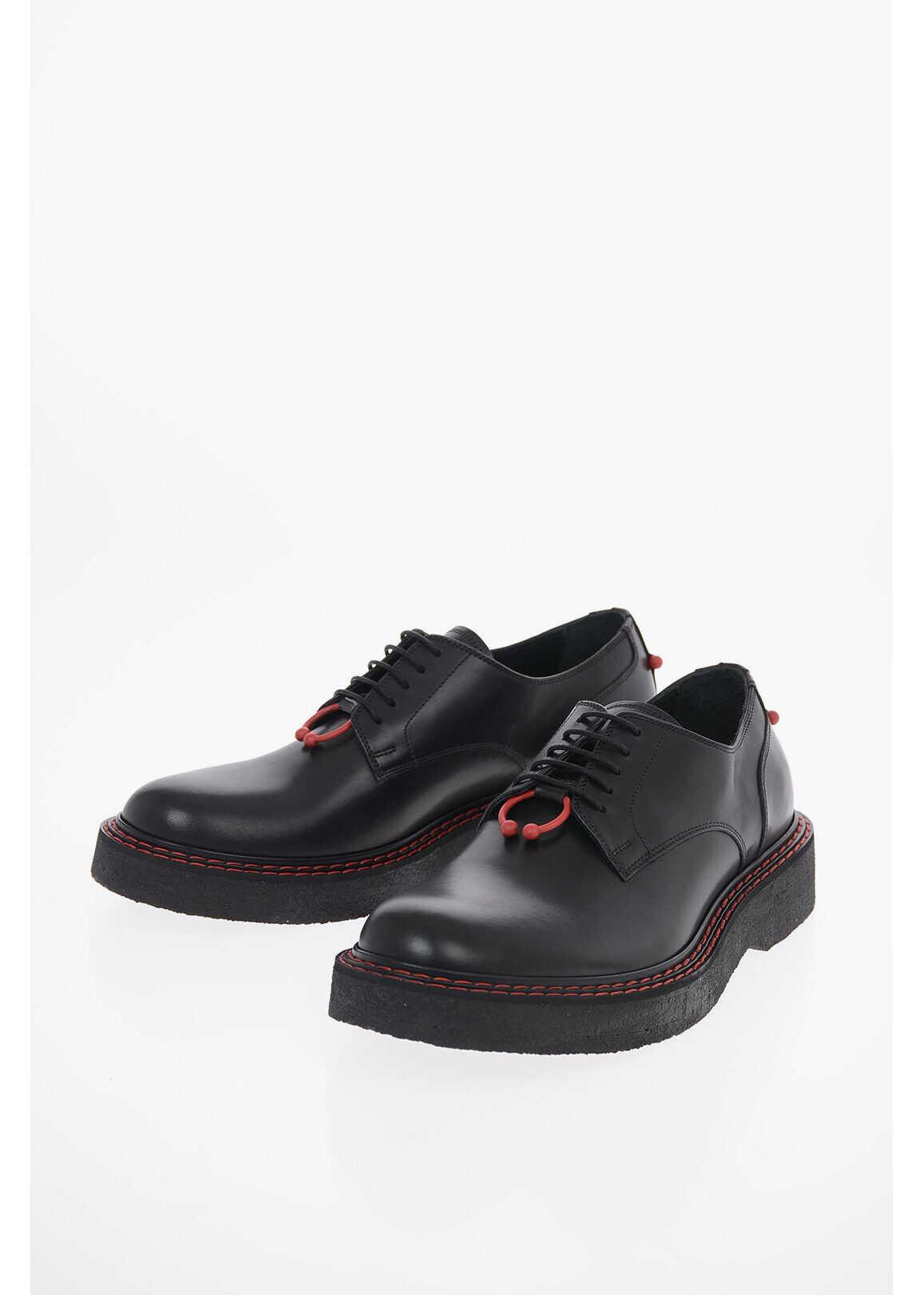 Neil Barrett Leather MONOGRAM PIERCED PUNK Derby Shoes BLACK imagine b-mall.ro
