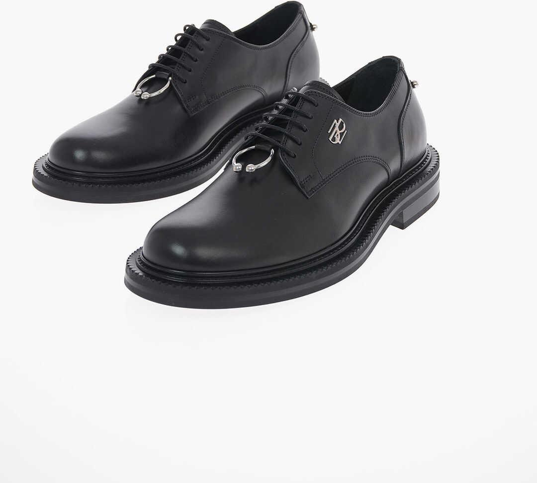 Neil Barrett Leather PIERCED MONOGRAM Derby Shoes BLACK imagine b-mall.ro