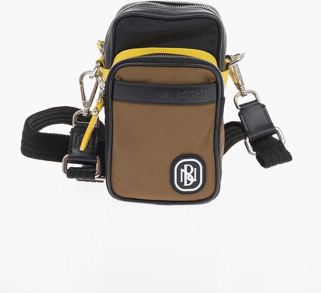 Neil Barrett PIERCED HYBRID FLIGHT Crossbody Bag with Leather Trimmings BROWN imagine b-mall.ro