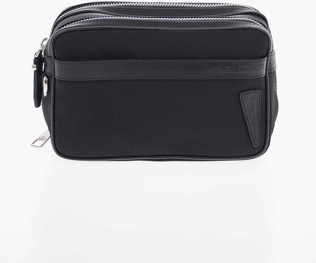 Neil Barrett Fabrc BALLISTIC PIERCED Toiletry Bag with Leather Trimmings BLACK imagine b-mall.ro