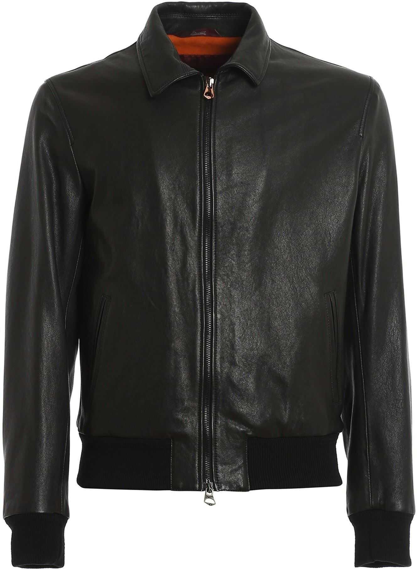 Stewart Salinger Padded Leather Jacket In Black Black imagine
