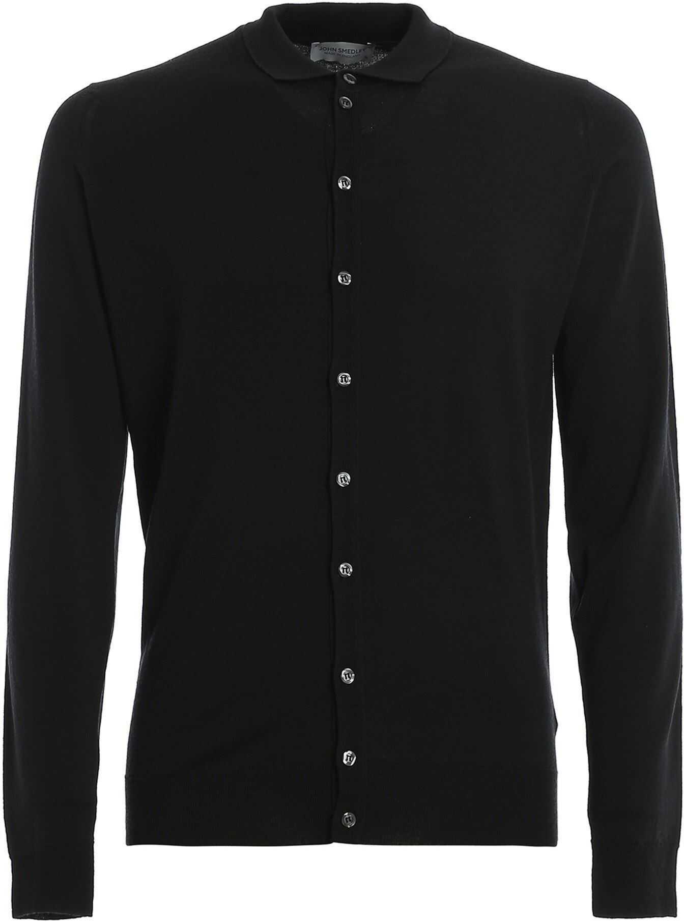 John Smedley Roston Shirt Style Cardigan In Black Black imagine