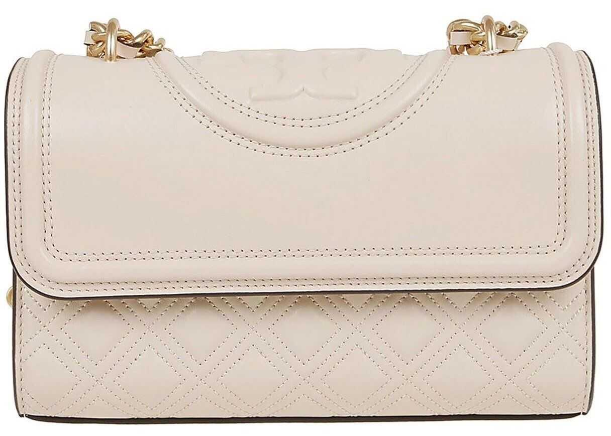 Tory Burch Small Leather Fleming Bag In Beige 75576122 Beige imagine b-mall.ro