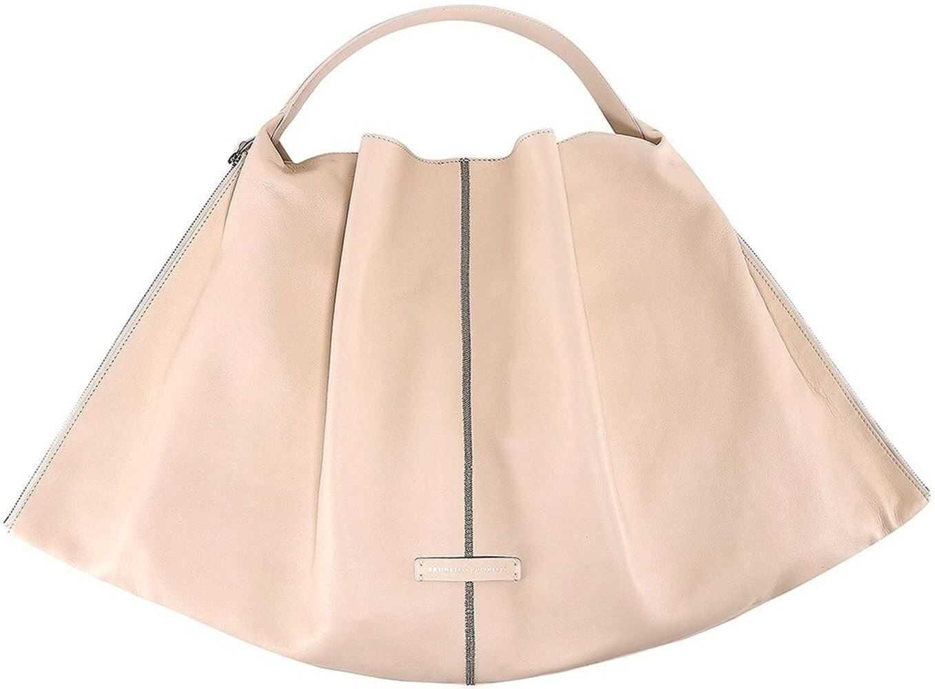Brunello Cucinelli Pleated Leather Tote Bag In Beige MBBGD2257C7831 Beige imagine b-mall.ro