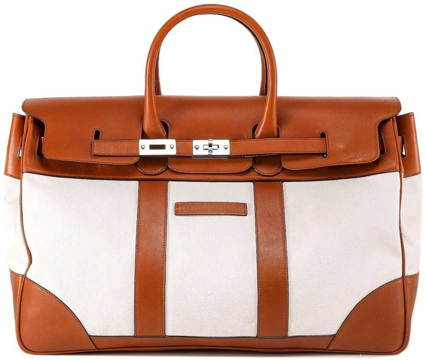 Brunello Cucinelli Weekender Country Bag In White And Brown MBTHU071CF120 White imagine b-mall.ro