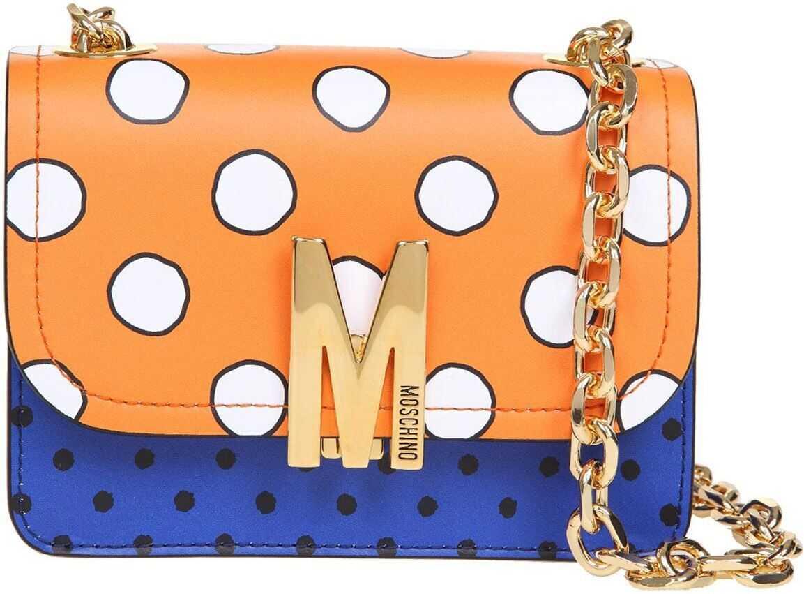 Moschino Polka Dot Bag In Orange And Blue 746580222035 Blue imagine b-mall.ro