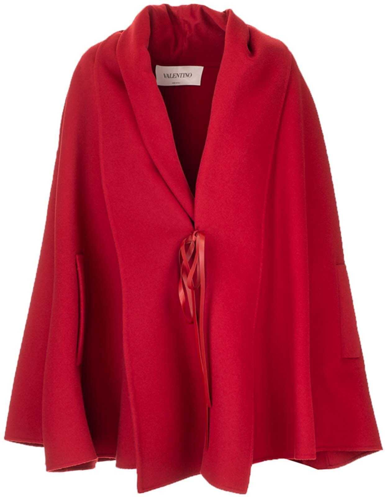Wool Cape In Red