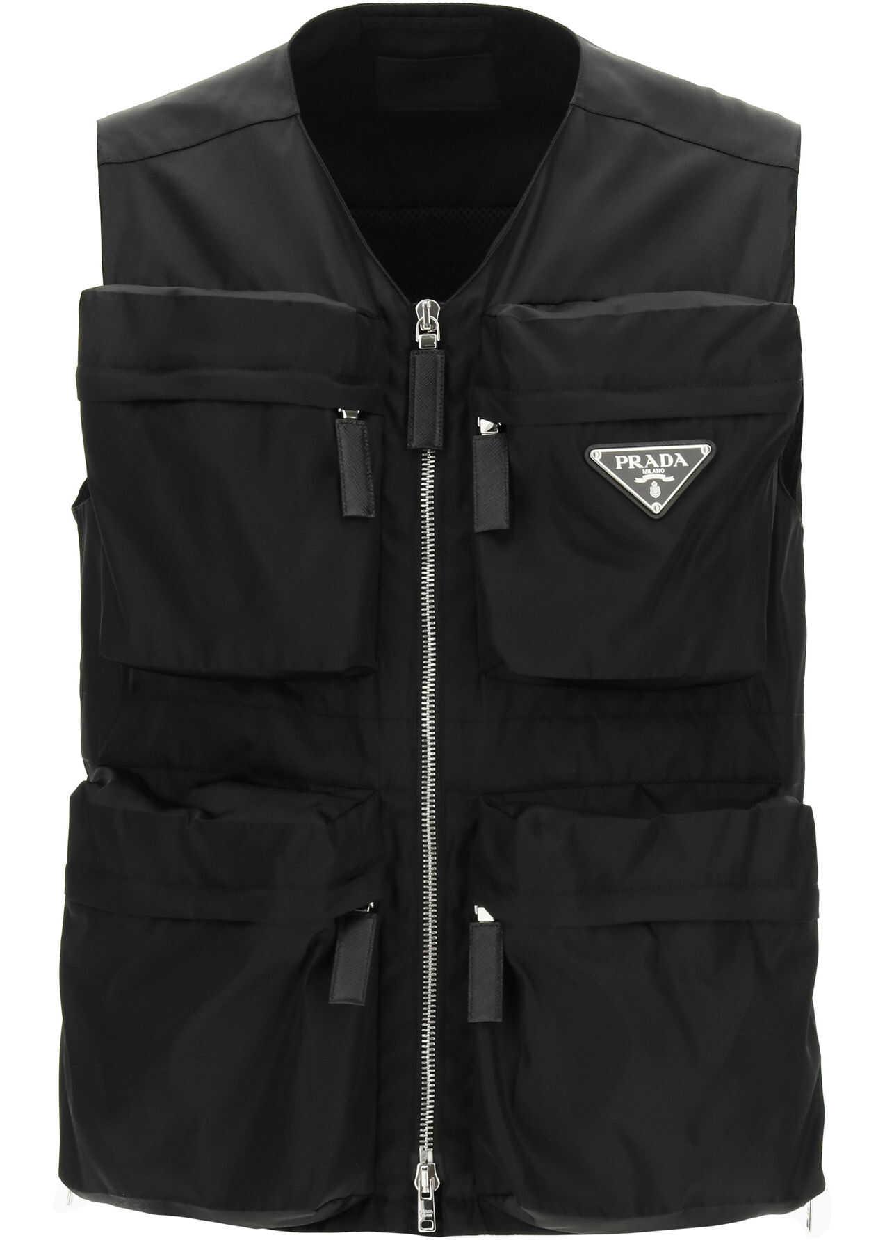 Prada Multi-Pocket Vest In Re-Nylon NERO imagine