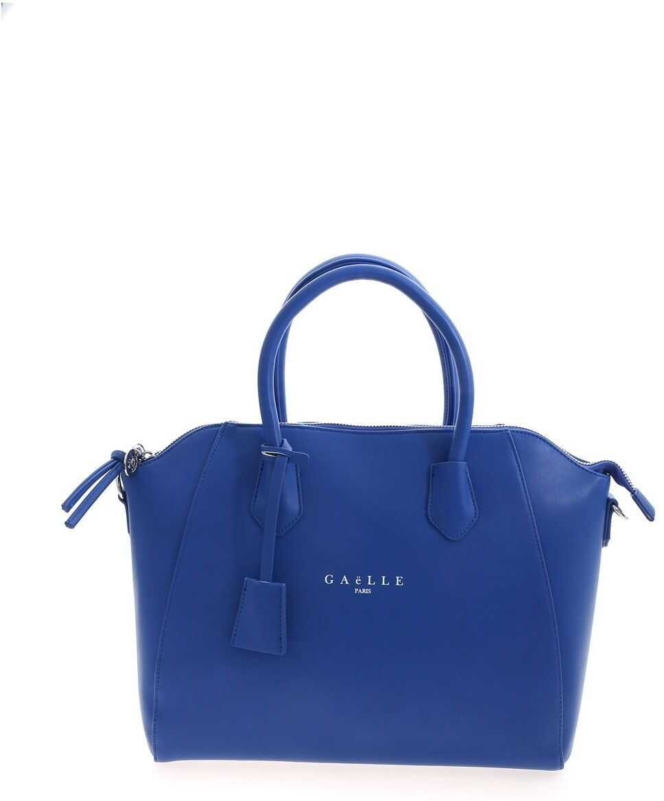 GAëLLE Paris Lettering Logo Print Bag In Blue GBDA2169BLU Blue imagine b-mall.ro