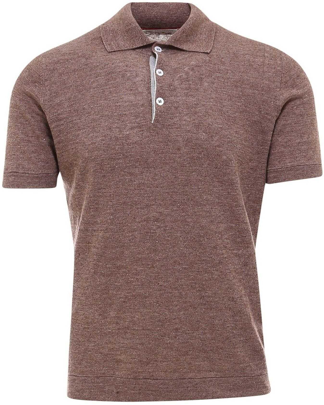 Brunello Cucinelli Linen Polo Shirt In Brown Brown imagine