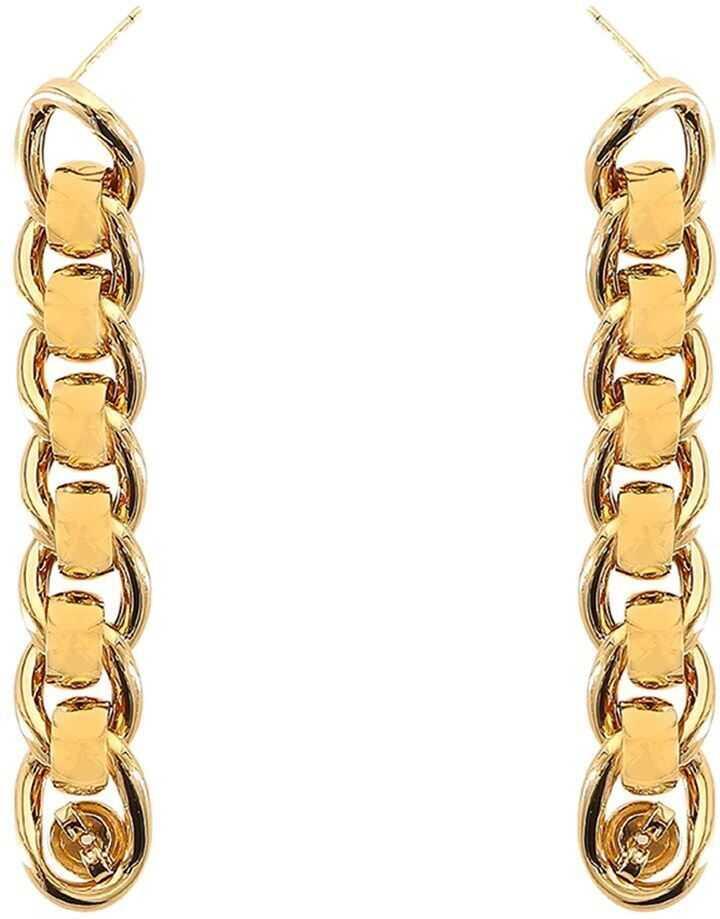 Bottega Veneta Loop Earrings In Gold Color Gold