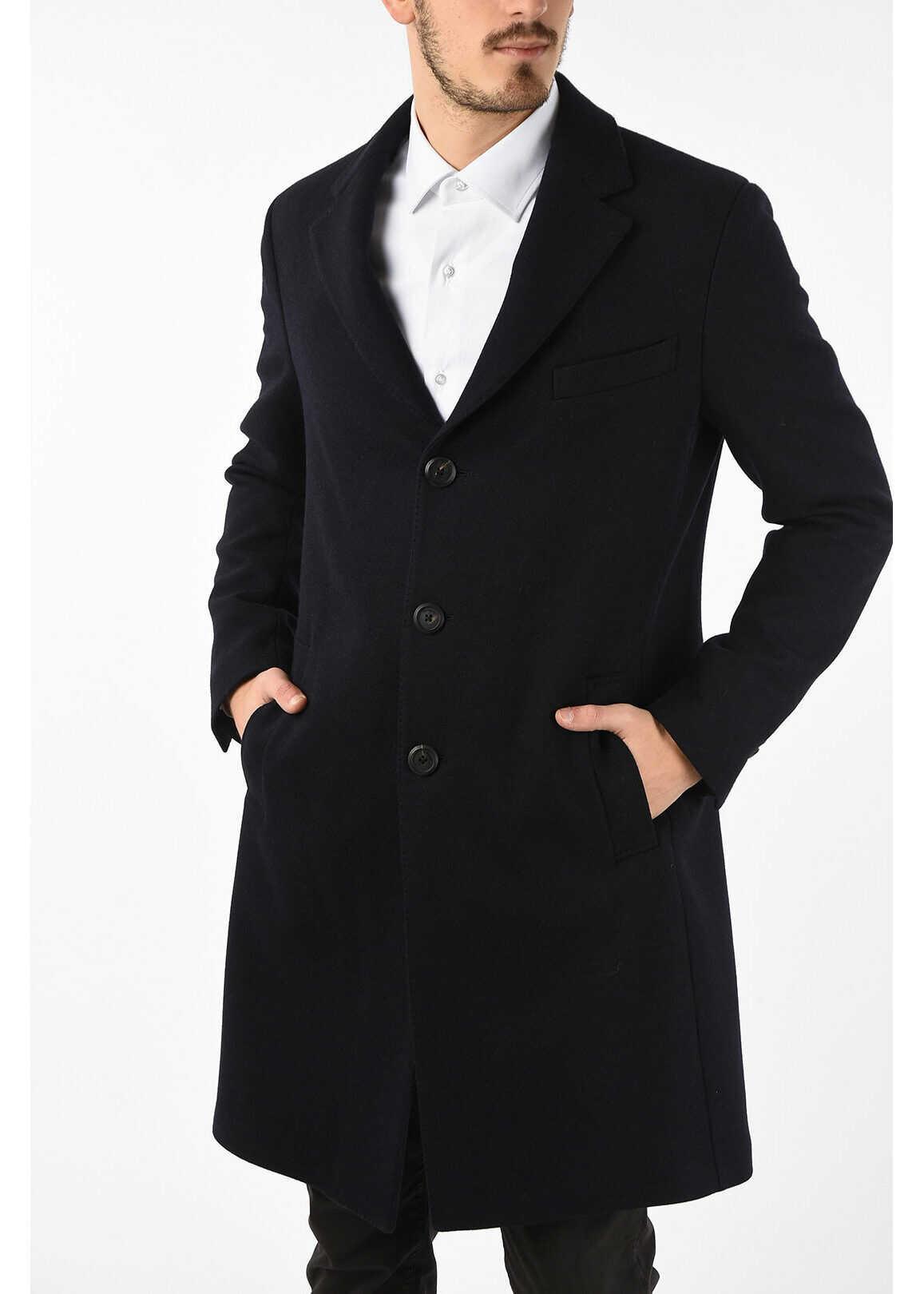 Salvatore Ferragamo Virgin Wool and Cashmere Notch Lapel Coat BLUE imagine