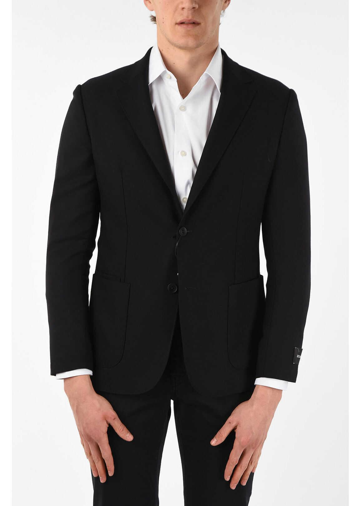Ermenegildo Zegna ZZEGNA TECHMERINO Wool 2 Button Blazer with Notch Lapel BLACK imagine