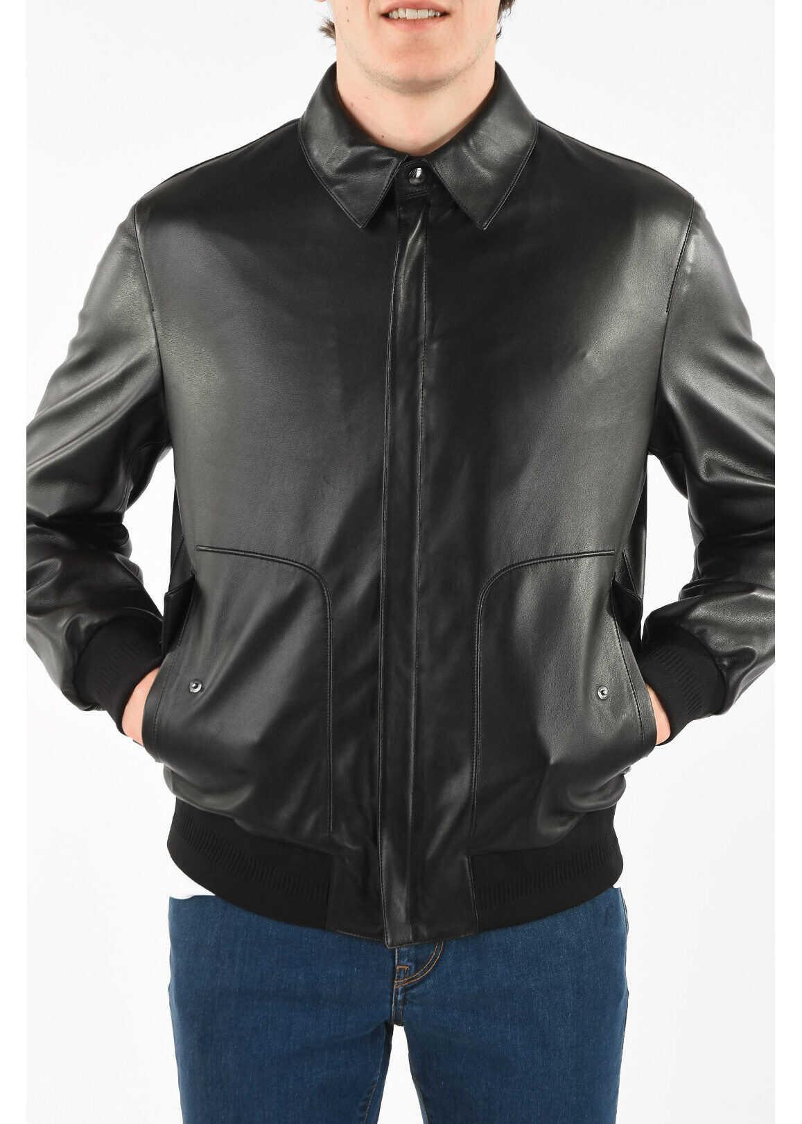 Ermenegildo Zegna Z ZEGNA Soft Leather Flap Pocket Jacket with Zip Closure BLACK imagine
