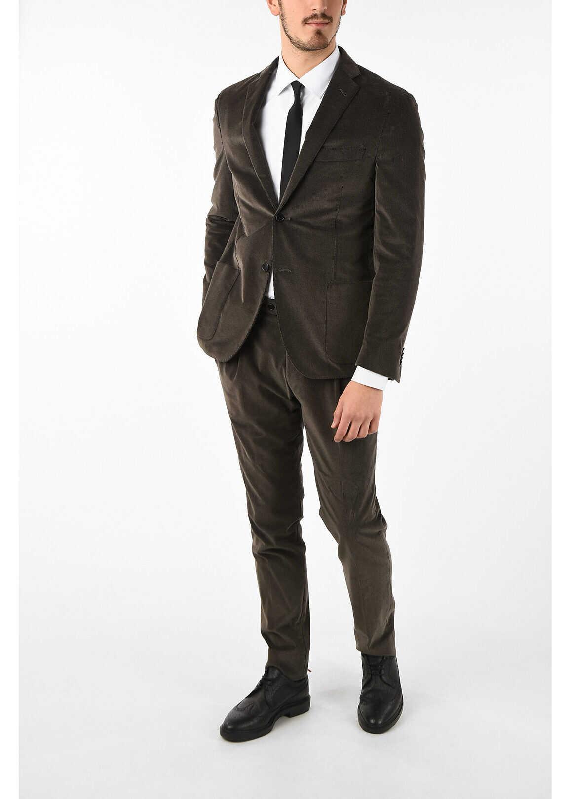 CORNELIANI notch lapel corduroy drop 7R 2-button GATE suit BROWN imagine