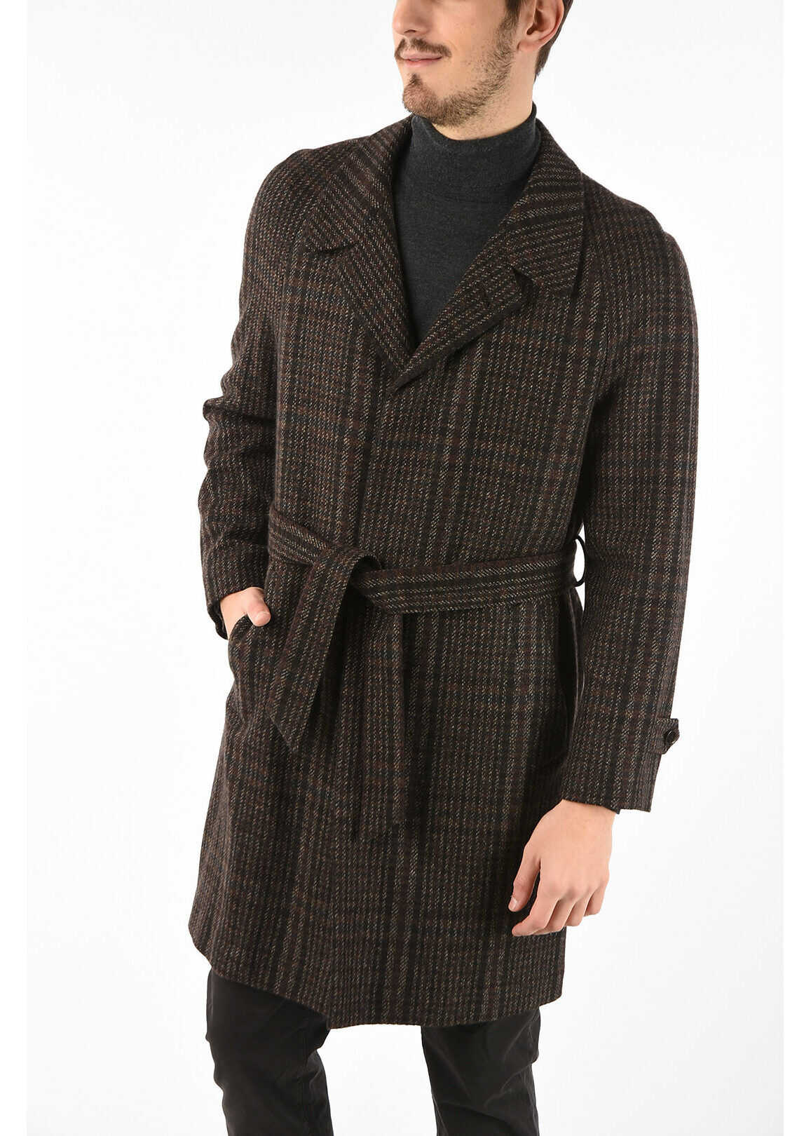CORNELIANI cashmere PIUMA chesterfield coat with Belt BROWN imagine