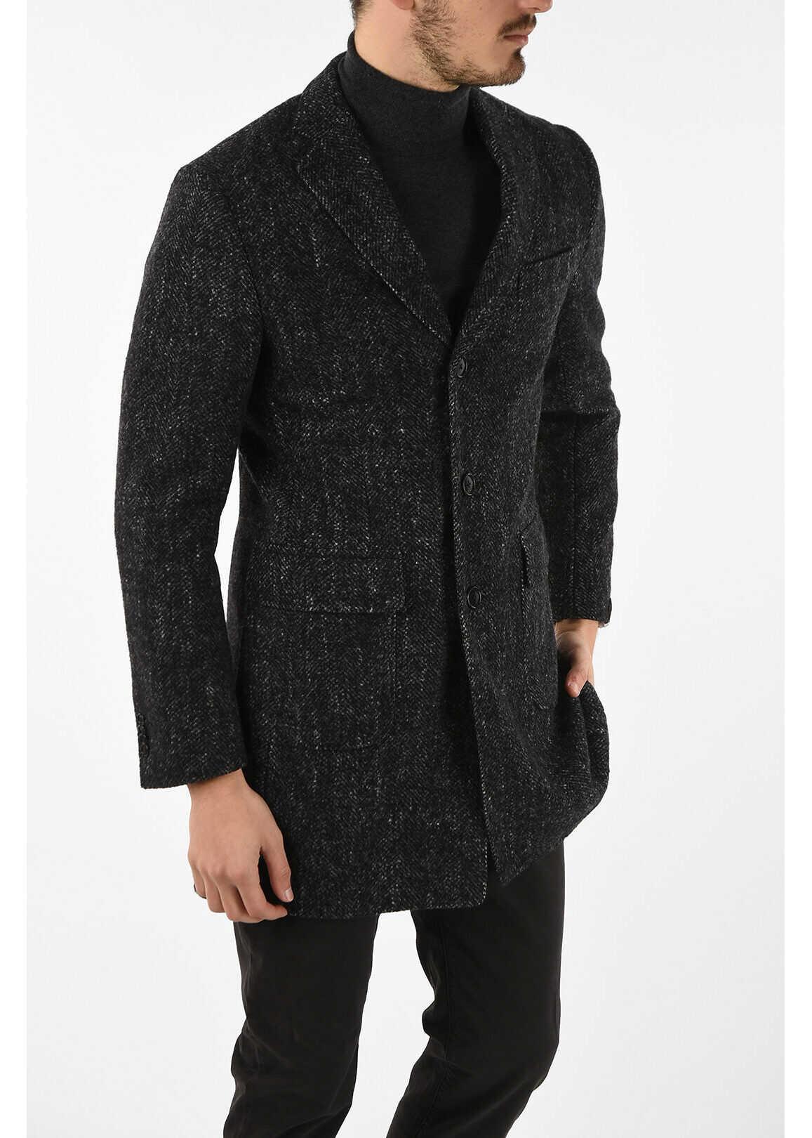 CORNELIANI plain herringbone 3-button chesterfield coat GRAY imagine