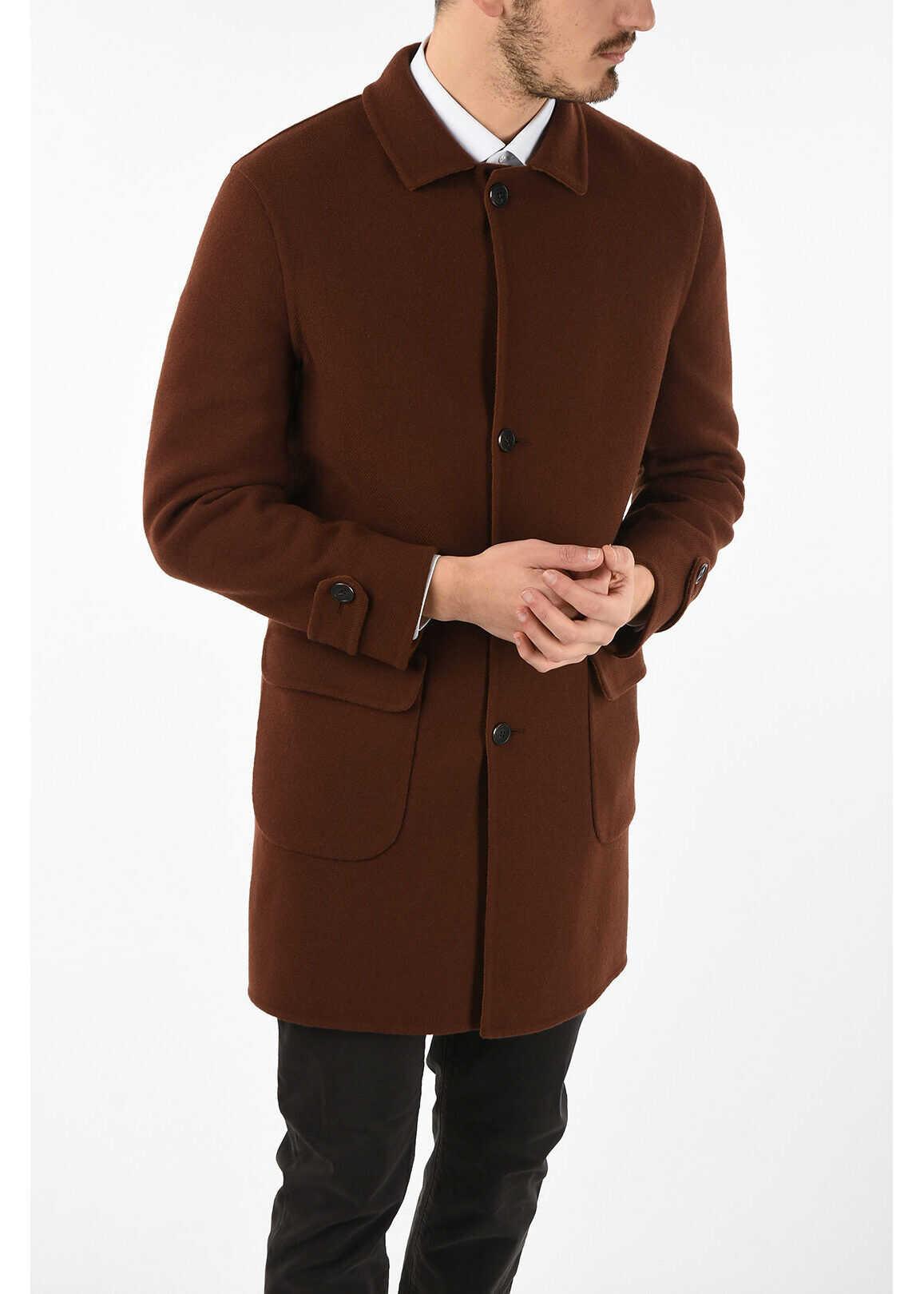 CORNELIANI Reversible balmacaan coat BROWN imagine