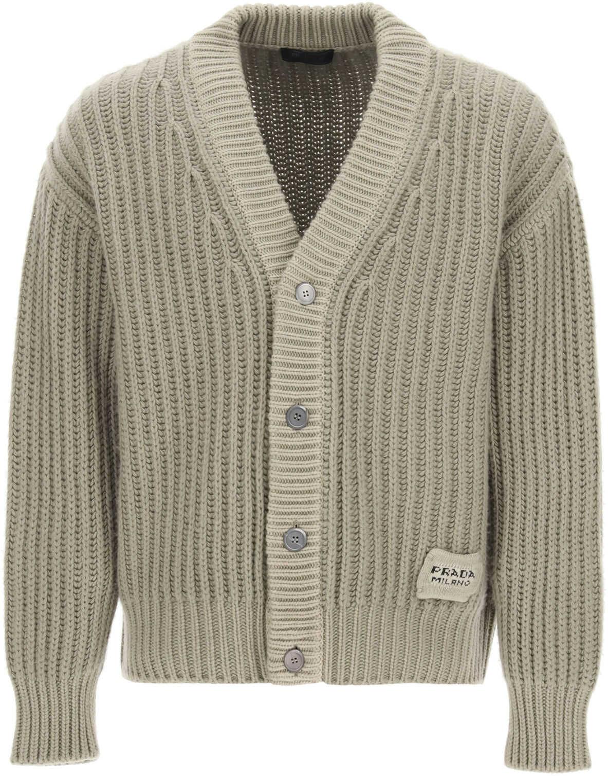 Prada Wool And Cashmere Cardigan ALLUMINIO imagine