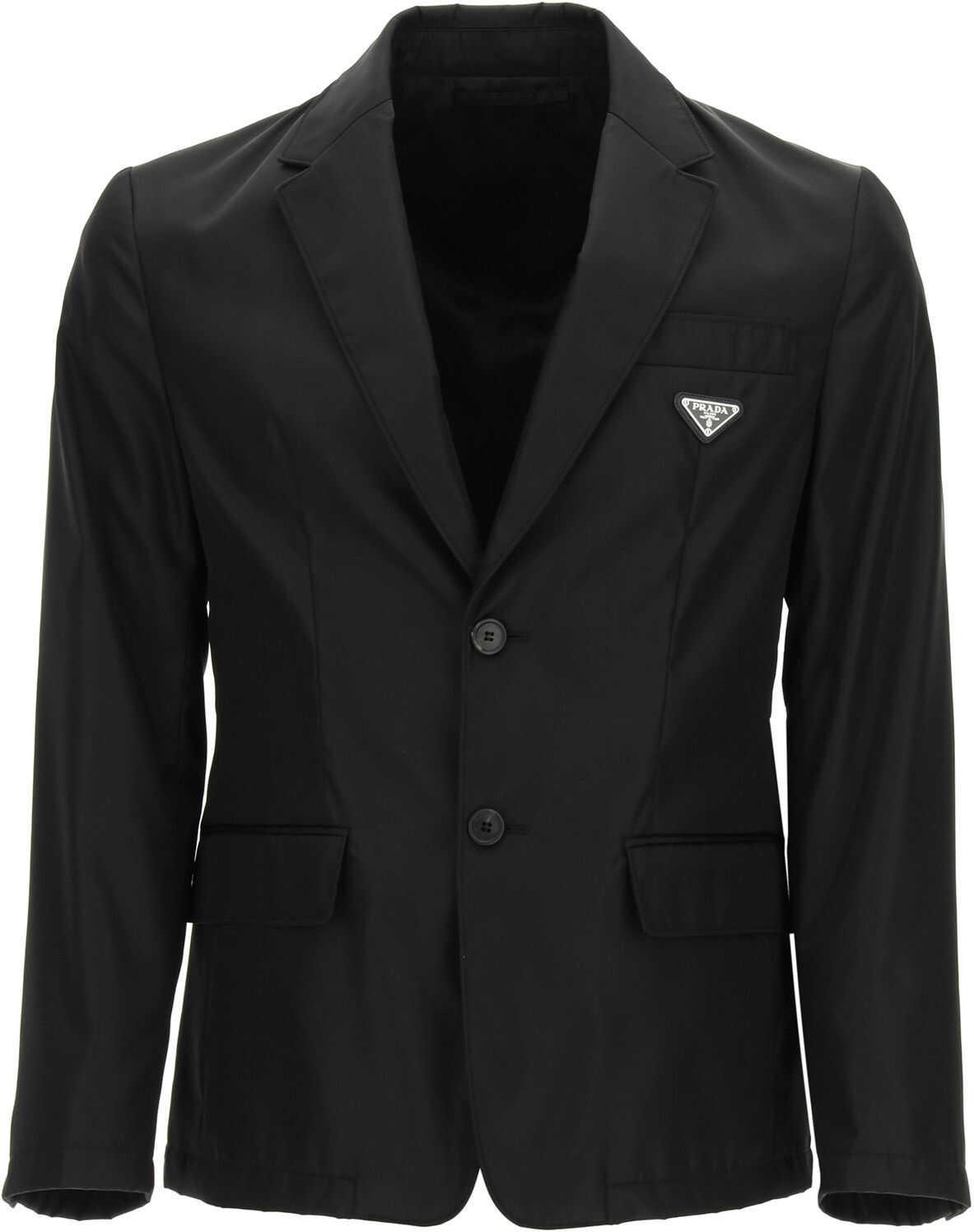 Prada Single-Breasted Blazer In Re-Nylon NERO imagine