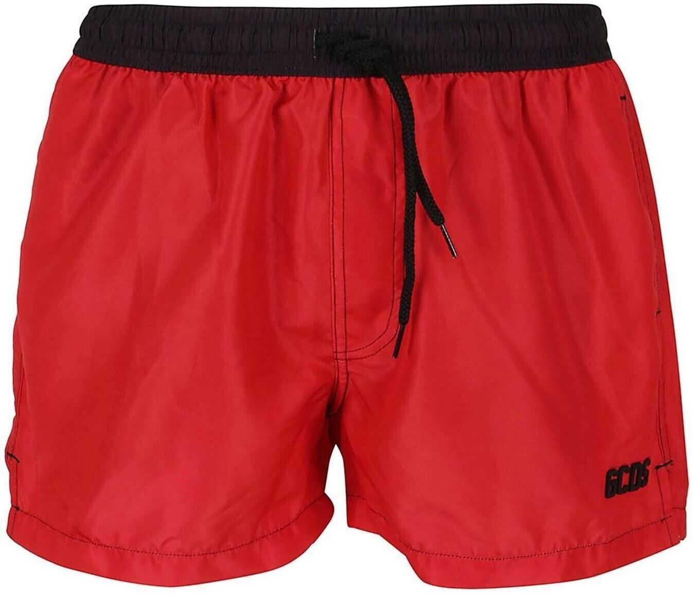 GCDS Two-Tone Nylon Swim Shorts Red imagine