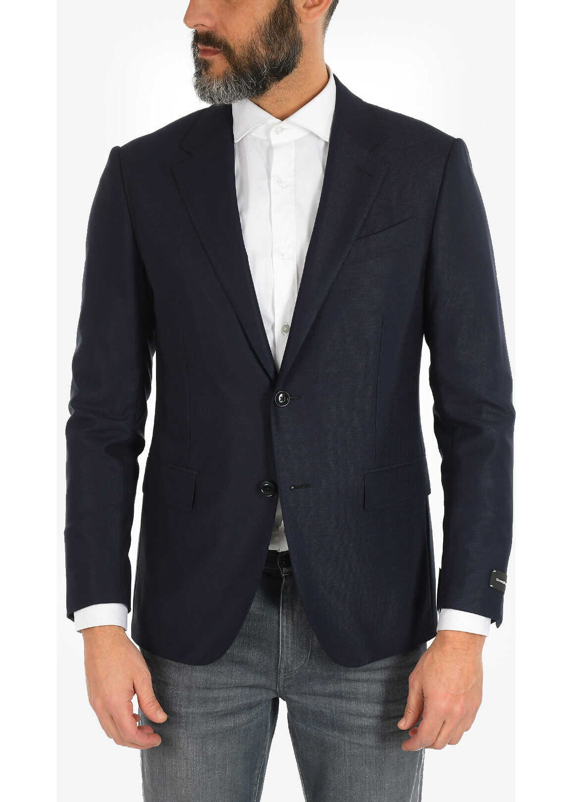 Ermenegildo Zegna EZ TAILORING Two Button Blazer with Flap Pockets BLUE imagine