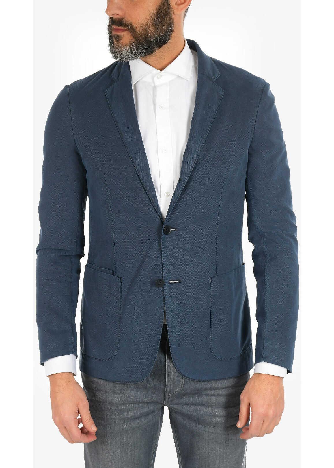 Ermenegildo Zegna ZZEGNA 3 Button Blazer with Patch Pockets BLUE imagine