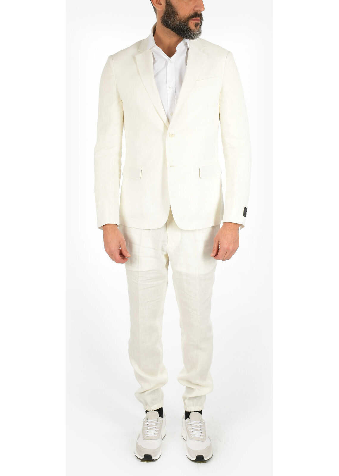 Z ZEGNA Linen Two Button Suit with Flap Pockets