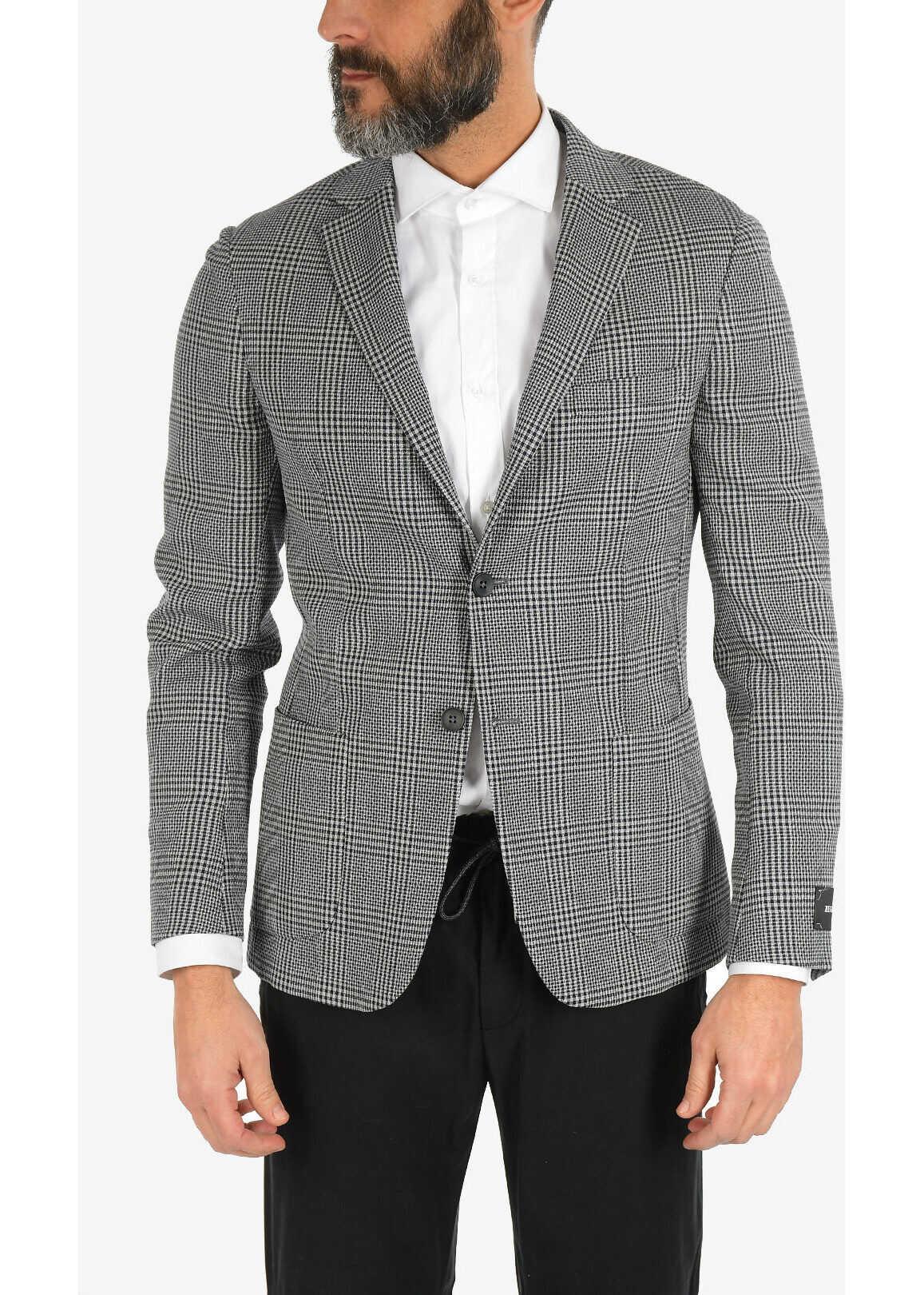 Ermenegildo Zegna ZZEGNA Wool Two Button Blazer with Notch Lapels BLACK imagine